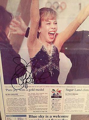 Tara Lipinski Figure Skater Hand Signed Olympics Houston Chronicle Poster