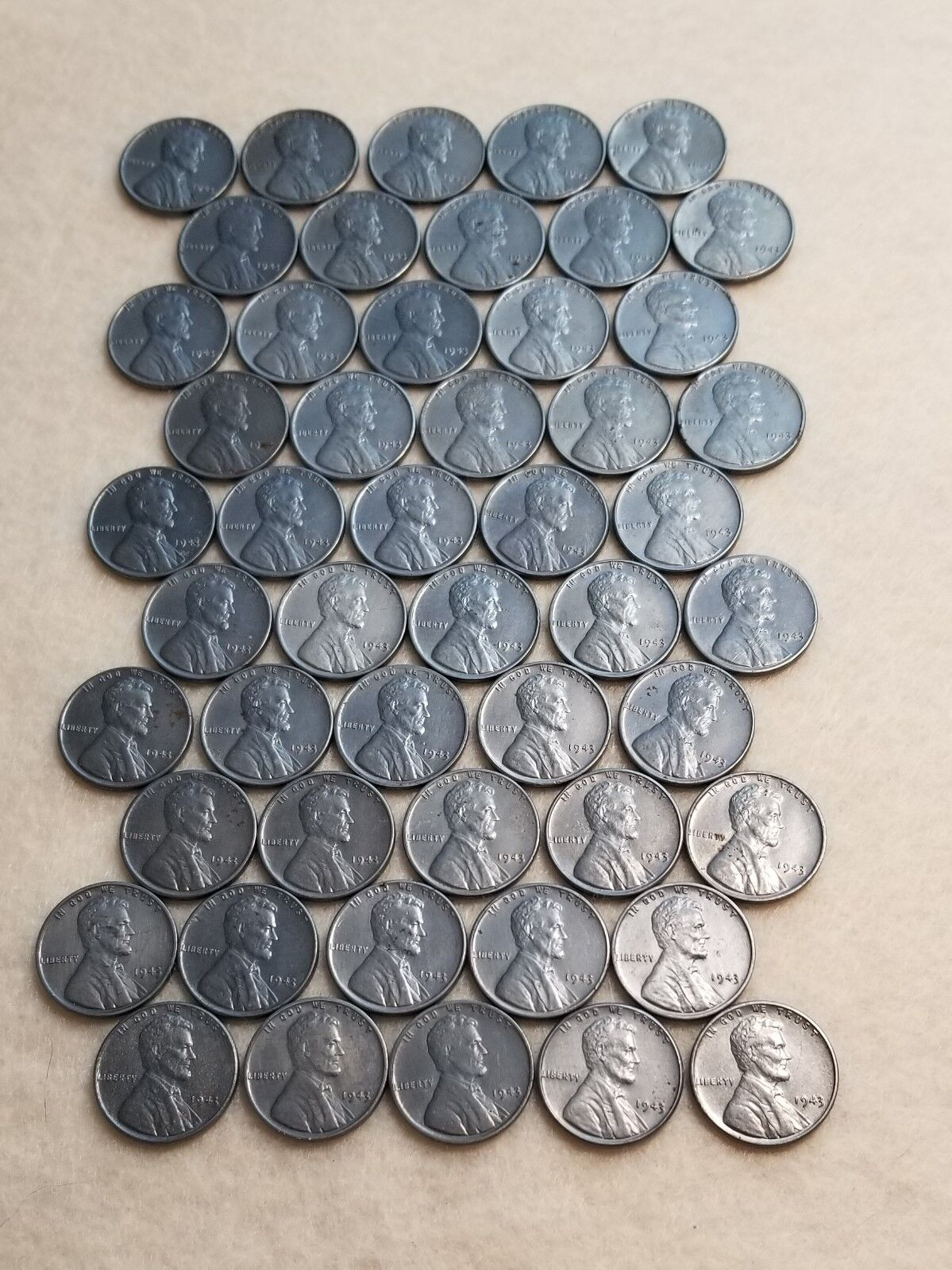 1943 STEEL WHEAT LINCOLN PENNIES ROLL - 50 CENTS – ACTUAL COIN LOT SHOWIN PHOTOS