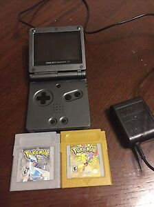 Gameboy SP with gold and silver Pokémon