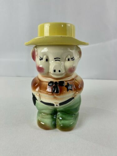 Vintage Art Pottery Robinson Ransbottom Sheriff Pig Cookie Jar RRP Co Roseville