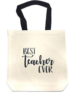 NEW! Best Teacher Ever Canvas Tote, Traveling, Bag, Teacher Gift](Best Teacher Bags)