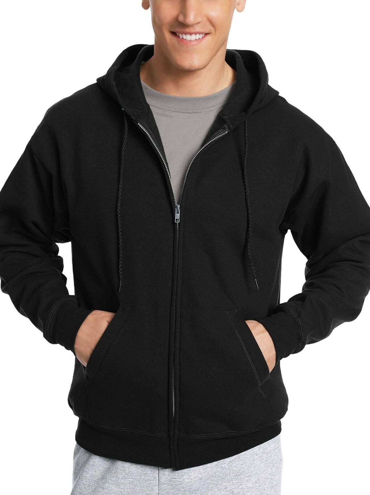 Hanes Men's Ecosmart Fleece Zip Up Hoodie with Pockets, Blac