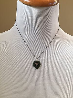 Vintage Sterling Silver & Green Stone Jewish Hebrew Chi Pendant Necklace