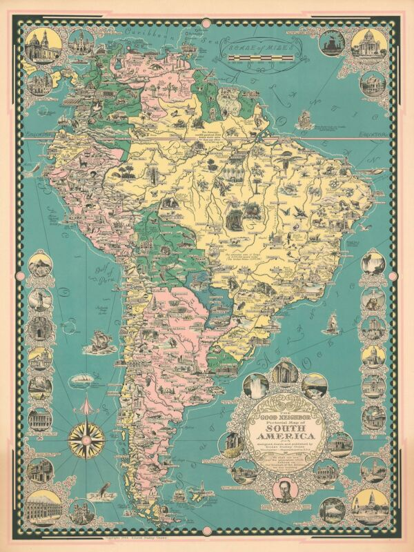1942 Ernest Dudley Chase Pictorial Map of South America