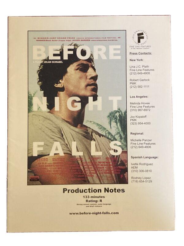 Before Night Falls Production Notes 2000 Javier Bardem Olivier Martinez  23 pp.