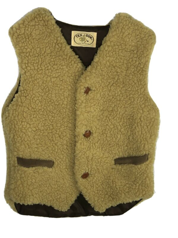Vintage Tex Son San Antonio Sherpa Kids Buckaroo Vest Western Cowboy EUC