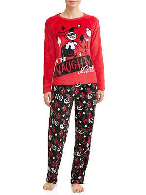 NEW Harley Quinn 2pc Womens Pajamas Set Naughty Christmas Gift Plush PJs Batman - Harley Pajamas
