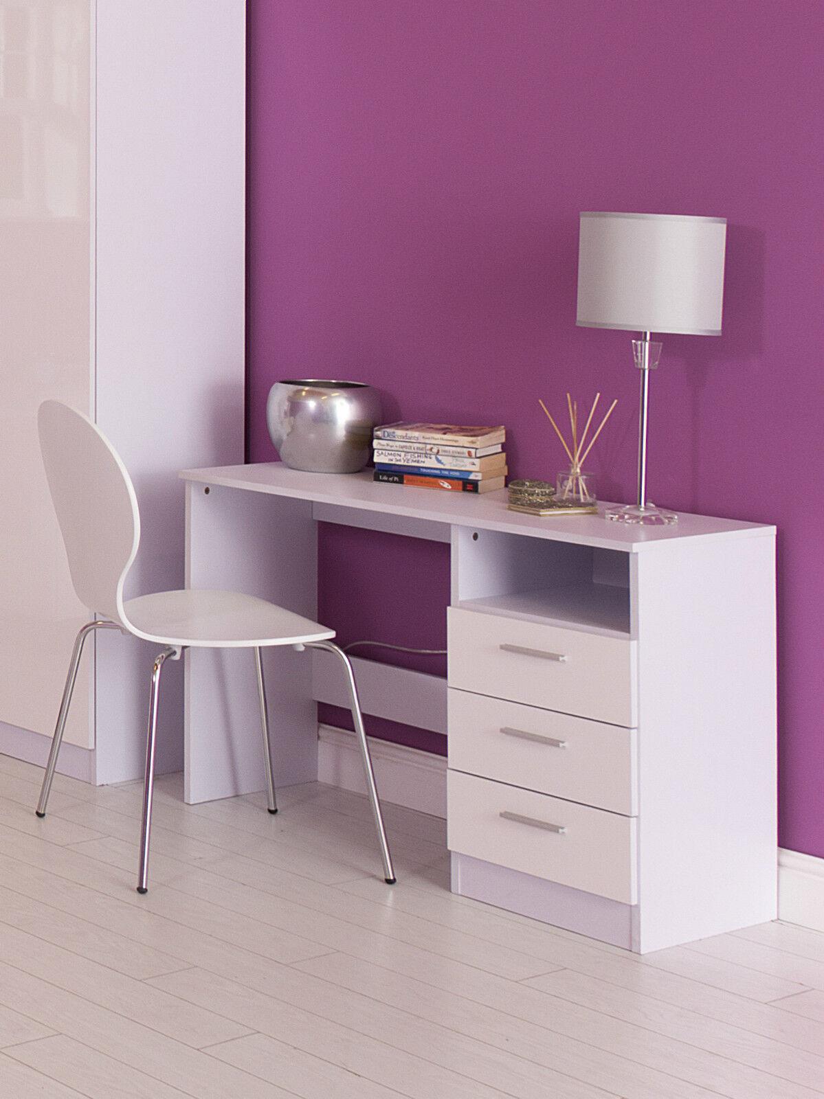Ottowa white gloss 3 drawer study desk dressing table for White dressing table with drawers