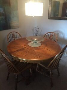 Oak Dining Set with Chairs and Curio Cabinet