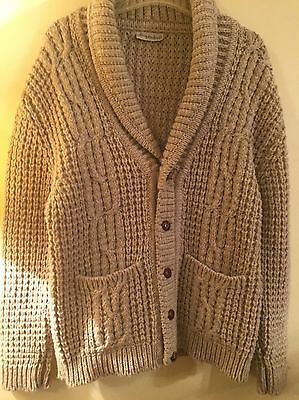 Mens Vintage ALAN MICHAELS Heather Wool Shawl Cardigan Sweater Men's M L