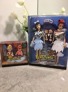 Barbie Collectible Flintstone dolls Betty Wilma Pebbles Bam Bam