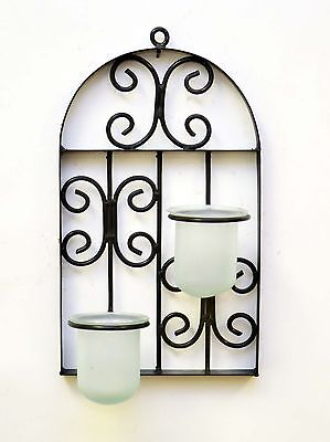 """Wall Iron Window Plaque w/Frosted Glass Inserts for Votive-18""""H x 10""""W."""