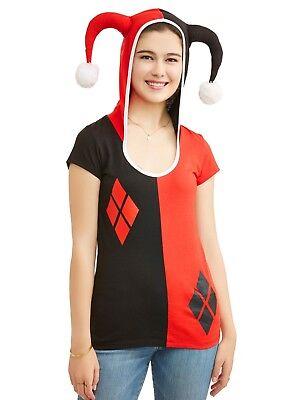DC Comics Harley Quinn Hooded Hoodie Tee Shirt Jester Horns Black Red Juniors  ()