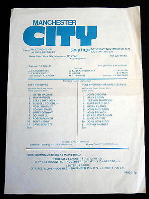 Manchester City reserves v West Bromwich Albion  reserves    5-11-1977