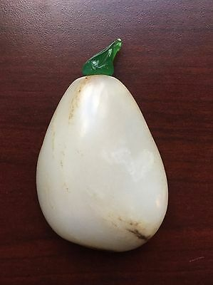 Antique Chinese Qing Dynasty White Jade Snuff Bottle with Green Peking Glass Top