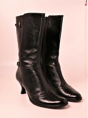 Nicole Kenna Steampunk Black Brogue Leather Boots Women's Size 10M Cosplay