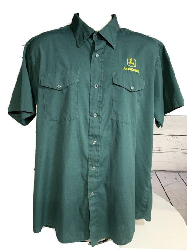 John Deere Shirt Mens Green Short Sleeve Snap Front Pockets Size XL Cotton