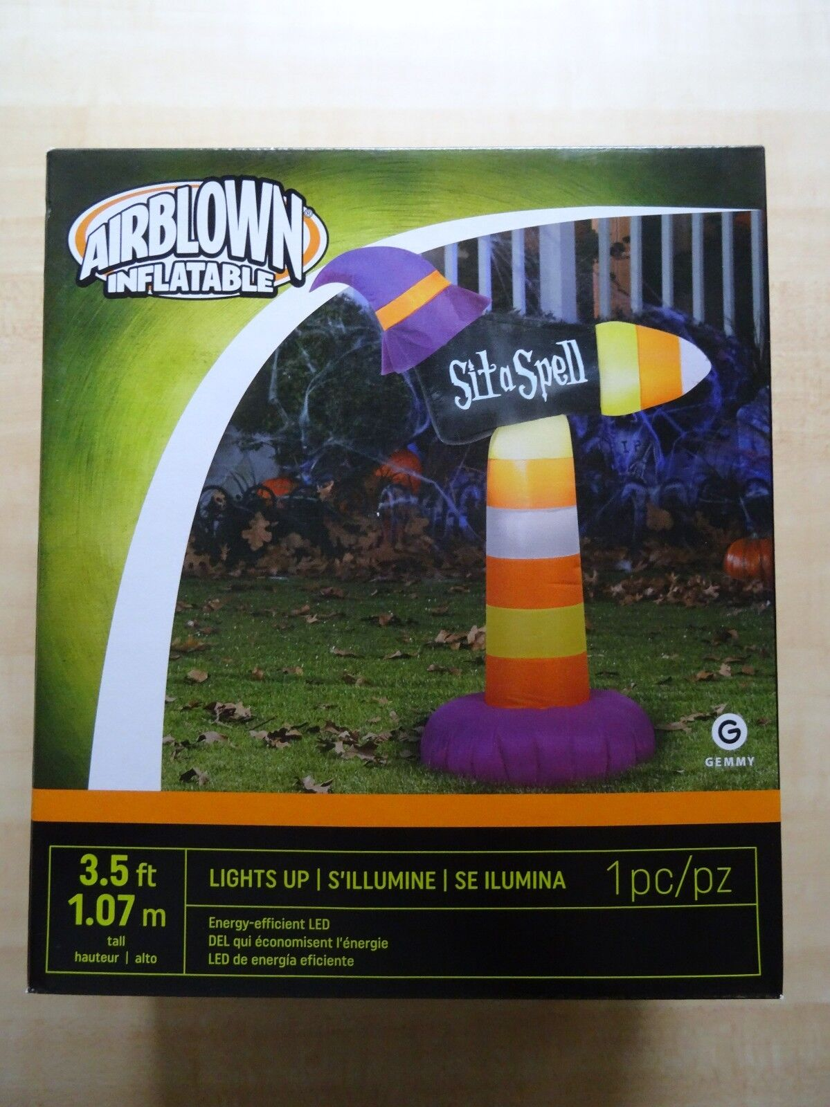 Gemmy Airblown Inflatable 3.5 Ft Feet Halloween Witch Hat Indoor Outdoor Nip