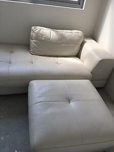 Three piece leather lounge 2 1/2 seats, chaise and seperate ottomam Ramsgate Rockdale Area Preview