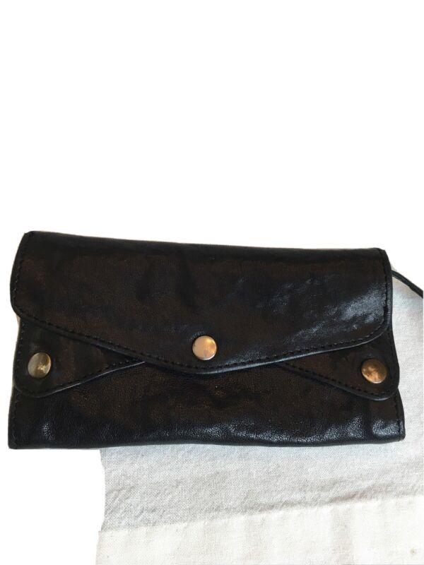 Vtg All Saints Black Leather Wallet Clutch Organizer Pre Owned Great Shape