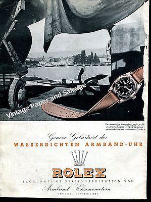 1943 Rolex Oyster Watch Advert Geneva Birthplace of Waterproof Watch Swiss Ad