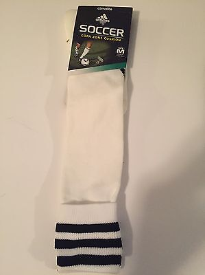Adidas Climalite Soccer Socks Medium White W/Black Stripes NWT