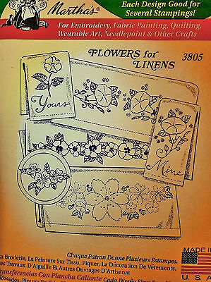 """Aunt Martha's Hot Iron On Transfer #3805 """" Flowers for Linens """""""