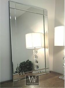 Lewis Silver Glass Framed Rectangle Art Deco Wall Mirror 36