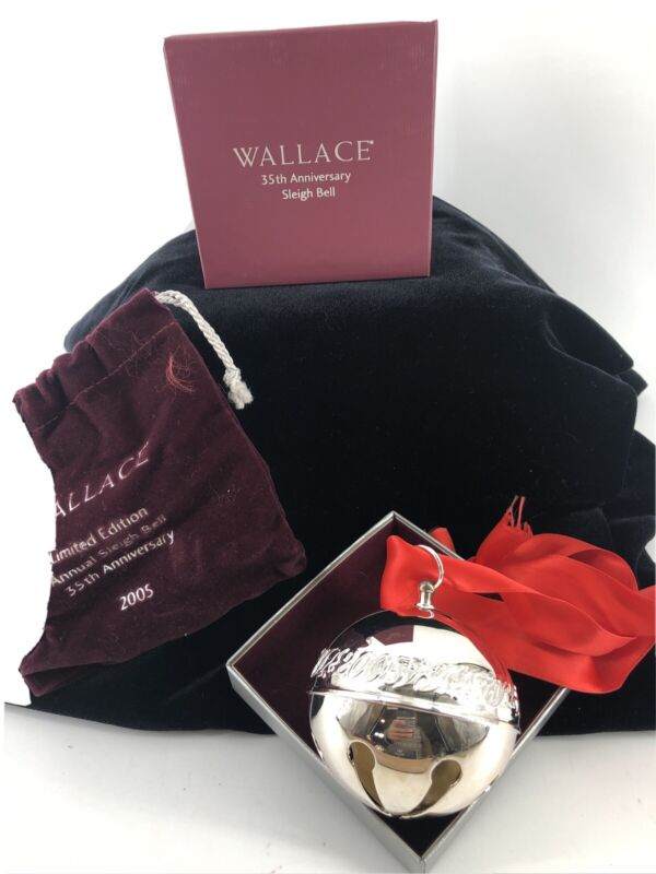 Wallace 2005 Silver Plate Sleigh Bell Christmas Ornament Box 35th Anniversary