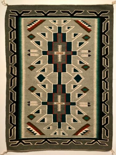 PRISTINE NAVAJO TEEC NOS POS RUG / TAPESTRY, BEAUTIFUL DOUBLE CROSS & TEAL COLOR