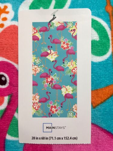 """Mainstays BEACH TOWEL 28"""" X 60"""" PINK FLAMINGOS on Teal Blue NEW with TAGS"""