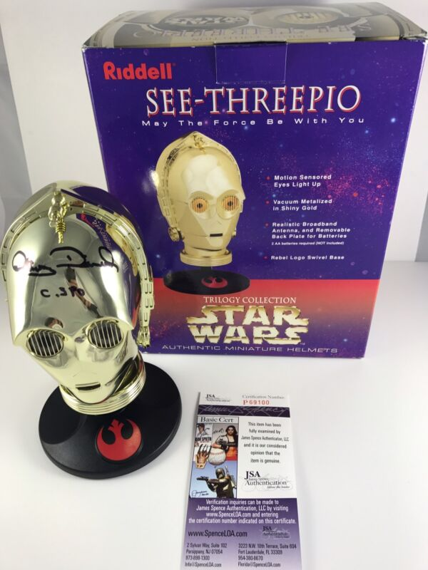 ANTHONY DANIELS signed Riddell Mini Helmet C-3PO SEE THREEPIO Star Wars C3PO JSA