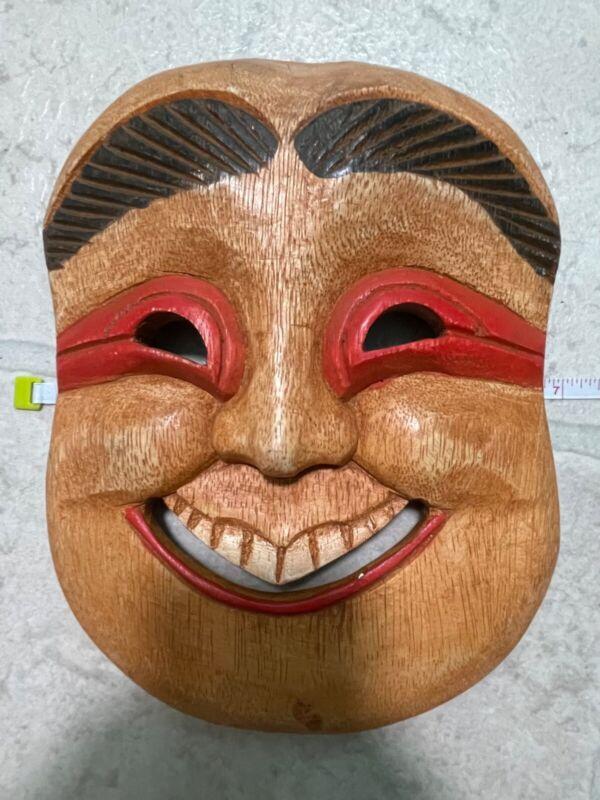 Vintage Folk Korean Asian Man Folk Wooden Mask Hand Carved Happy Smile 7x9 Inch