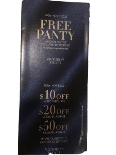 Victorias Secret Coupons - Panty / 10 Off 50/ 20 Off 100/ 50 Off 200 Exp 11/3 - $10.50