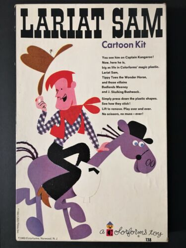 "1962 COLORFORMS ""LARIAT SAM CARTOON KIT"" TOY - CAPTAIN KANGAROO ANIMATED COWBOY"