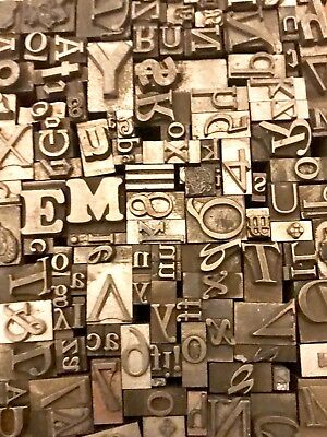 Lot Of 250 Vintage Letterpress Letters Lead Metal Printing Type
