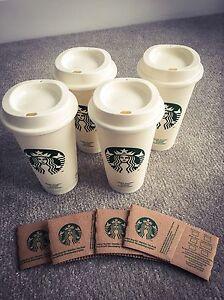 4 Pack Starbucks Reusable Travel Mug Cup Tumbler Grande Durable Plastic Genuine