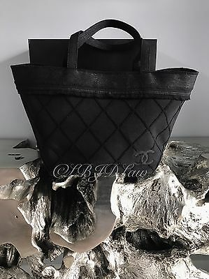 NWT CHANEL 2015A $1800 BLACK TOTE BAG BEACH TOWEL SET PICNIC DEAUVILLE GST RARE
