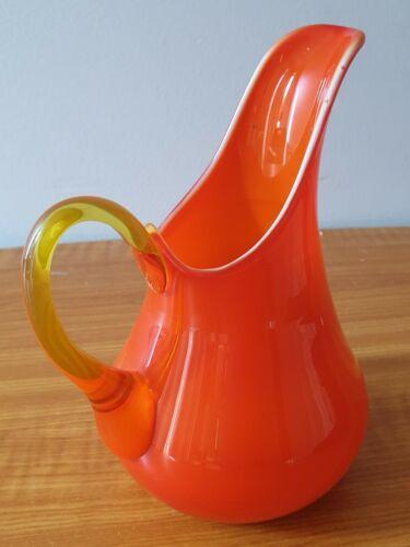 Vintage Hand Blown Orange Cased Glass Jug