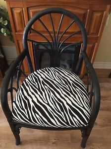 BLACK AND ZEBRA PRINT BAMBOO CHAIR
