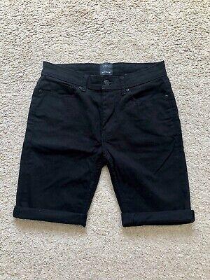 "Men's Burton Black Skinny Fit Denim Shorts, Size 28"""