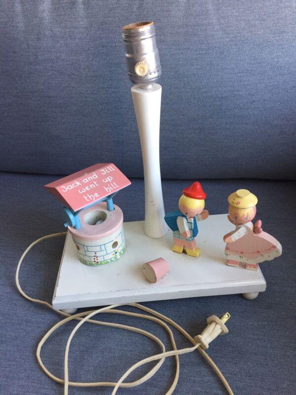 Nursery Rhyme Lamp w/ Nightlight (well), Jack And Jill, Vintage Irmi Brand