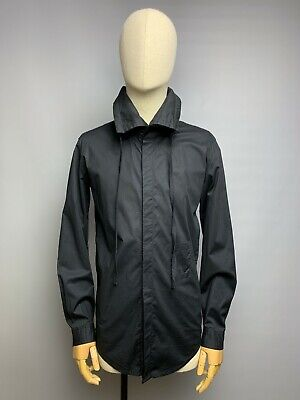 ARMY OF ME Black Shirt Size S Small Men's Long Sleeve Drawstring Collared Top