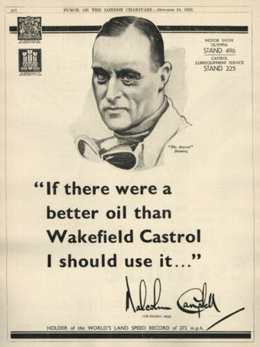 Vintage CASTROL MOTOR OIL w/ Malcolm Campbell RACING LEGEND 1933 Advertisement