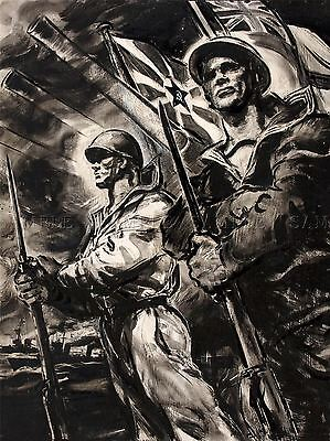 Buy cheap PAINTINGS PORTRAIT WAR WWII SOVIET BRITAIN CONVOY UNITY ART POSTER PRINT products