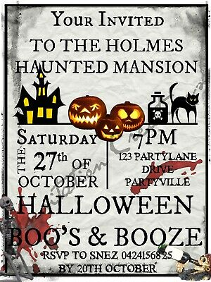 Diy Halloween Birthday Invitations (DIY Print Custom HALLOWEEN SCARY GHOST WITCH PUMPKIN Birthday Party)