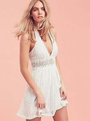 Free People So Sweetly Dress Halter Mini Crochet Cotton Size 12 White  $168 (Cotton Crochet Halter Dress)