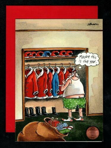 Christmas Santa Closet Suits Hats Present - HUMOROUS - Greeting Card W/ TRACKING