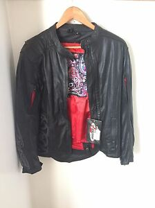 Woman's leather motorcycle jacket