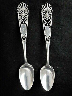 Vintage 800 Silver German Filigree Teaspoons Set of 4 Antique Ornately Decorated Demi Tasse Spoons